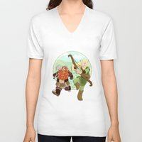 legolas V-neck T-shirts featuring LotR- Legolas & Gimli by Firehouselight