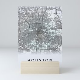 Houston TX USA White City Map Mini Art Print