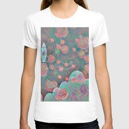 Rocket and Roses Landscape Print T-shirt