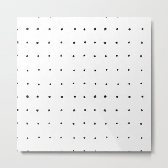 Dot Grid Black and White Metal Print