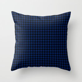 PreppyPatterns™ - Cosmopolitan Houndstooth - black and indigo blue Throw Pillow