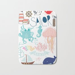 Nautical Doodles Bath Mat