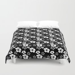 Black And White Floral And Turtle Hawaiian Pattern Duvet Cover