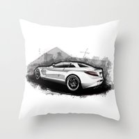 mercedes Throw Pillows featuring Mercedes-Benz SLR McLaren 722 by an.artwrok
