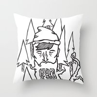 bon iver Throw Pillows featuring Bon Iver by greta skagerlind