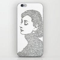 audrey hepburn iPhone & iPod Skins featuring Audrey Hepburn by S. L. Fina
