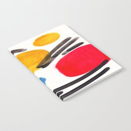 Mid Century Modern Abstract Juvenile childrens Fun Art Primary Colors Watercolor Minimalist Pop Art Notebook
