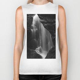 Black and white waterfall long exposure Biker Tank