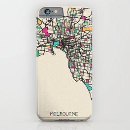 Colorful City Maps: Melbourne, Australia iPhone Case