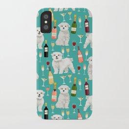 Maltese wine pattern dog breed dog portrait pet friendly pet art champagne iPhone Case