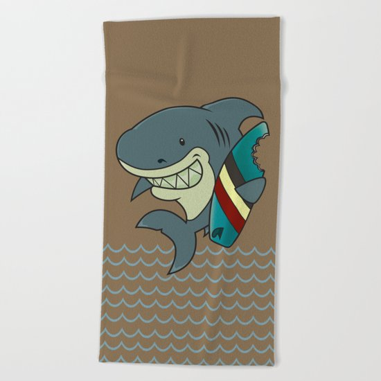 The great white surfer Beach Towel