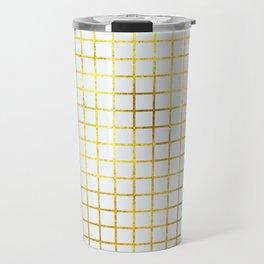 White & Gold Grid Travel Mug