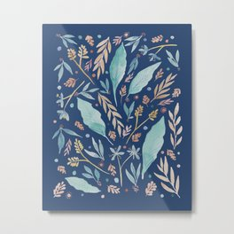 Colorful botanical watercolor foliage - Classic Blue Metal Print