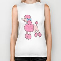 poodle Biker Tanks featuring Pink Poodle by Jade Boylan