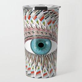 Origami Chakra Eye - Aqua Marine Blue Travel Mug