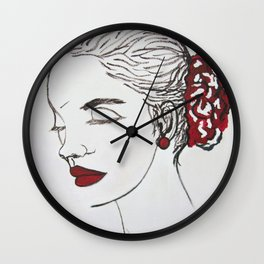 woman and red Wall Clock