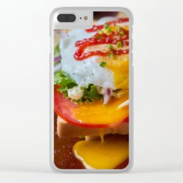 Juicy yolk on sandwich Clear iPhone Case