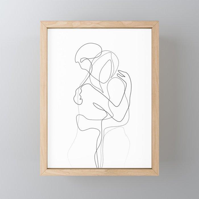 Lovers - Minimal Line Drawing Framed Mini Art Print