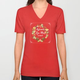 My Favorite Love Story is Ours, Mod Floral Wreath Ranunculus, Daisy, Wild Roses Unisex V-Neck