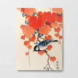 Vintage Japanese Bird and Autumn Grapevine Metal Print