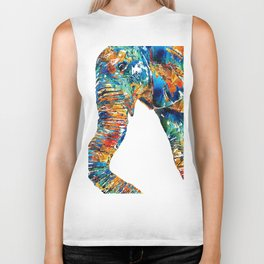 Colorful Elephant Art by Sharon Cummings Biker Tank