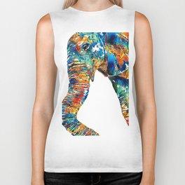 Colorful Elephant Art by Sharon Cummings Biker Tank
