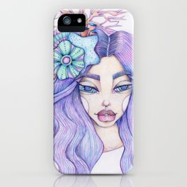 JennyMannoArt Colored Graphite/Keira the Mermaid iPhone Case