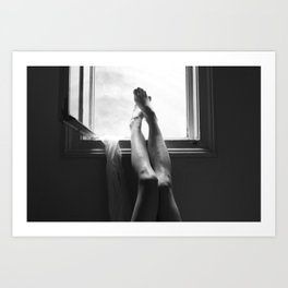 digital photo photography legs window figure woman black and white Art Print