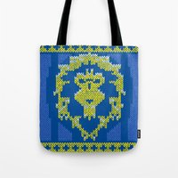 warcraft Tote Bags featuring Ugly Sweater 1 by SlothgirlArt