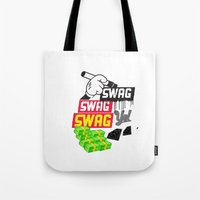 swag Tote Bags featuring SWAG by Mr. Magenta