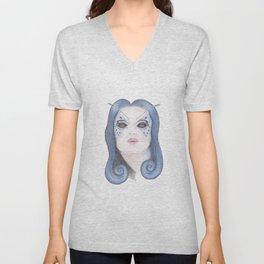 Blue Butterfly Girl Unisex V-Neck
