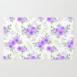 Hand painted violet lilac green watercolor peonies floral Rug