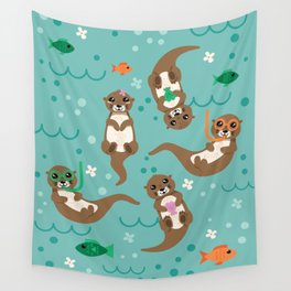 Kawaii Otters Playing Underwater Wall Tapestry