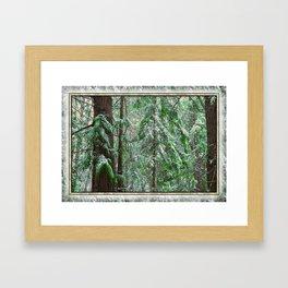 SUNSET SNOW IN CEDARS Framed Art Print