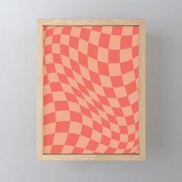 Warped Check Orange  Framed Mini Art Print