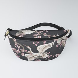Seamless pattern with pink sakura branches and white Japanese cranes Fanny Pack