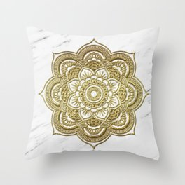Gold mandala on marble Throw Pillow