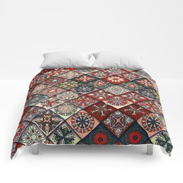 (N19) Colored Floral Moroccan Traditional Bohemian Artwork Comforters