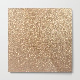 Copper Rose Gold Metallic Glitter Metal Print