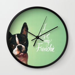 I Love My Frenchie Wall Clock