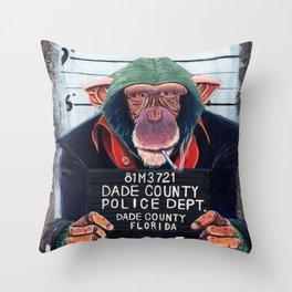 Monkey mugshot Throw Pillow