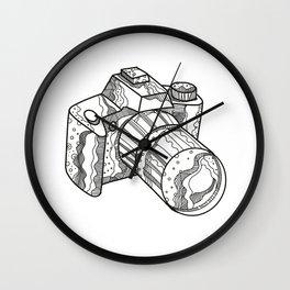 DSLR Camera Doodle Art Wall Clock