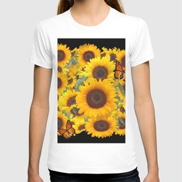 SUNFLOWER & MONARCHS IN BLACK ART T-shirt
