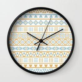 Aztec Influence Pattern Blue White Gold Wall Clock