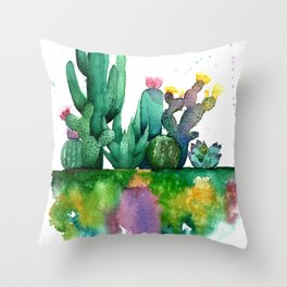 Abstract Colorful Cacti Throw Pillow