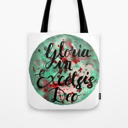 """Hand Painted Watercolor """"Gloria in Excelsis Deo"""" Tote Bag"""