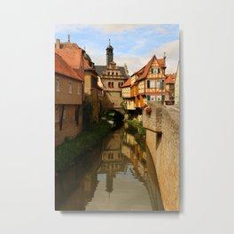 Medieval Village Reflection Metal Print