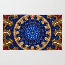 Royal Blue Gold Mandala Design Rug