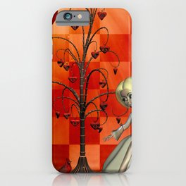 Cute little girl with heart tree iPhone Case
