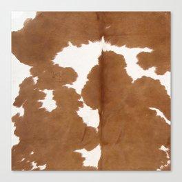 Tan and white cowhide texture Canvas Print